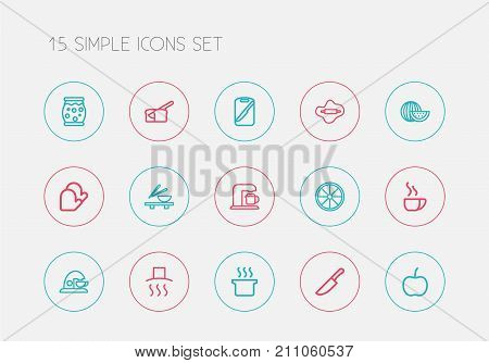 Set Of 15 Editable Cook Outline Icons. Includes Symbols Such As Food Cutter, Rooty, Board And More