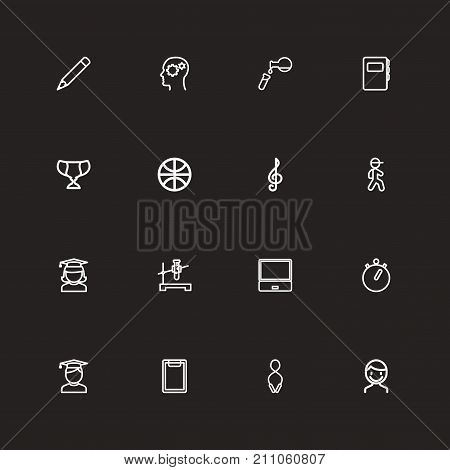 Set Of 16 Editable Teach Outline Icons. Includes Symbols Such As Test, Pencil, Flask And More