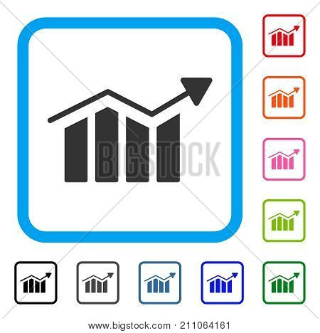Bar Chart Trend icon. Flat gray iconic symbol in a light blue rounded frame. Black, gray, green, blue, red, orange color additional versions of Bar Chart Trend vector. Designed for web and app UI.