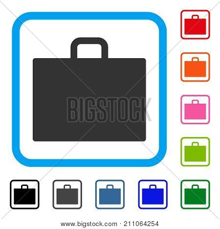 Case icon. Flat grey iconic symbol in a light blue rounded rectangle. Black, gray, green, blue, red, orange color variants of Case vector. Designed for web and app UI.