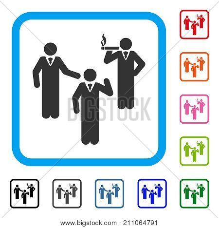 Discuss Standing Persons icon. Flat grey pictogram symbol inside a light blue rounded rectangle. Black, gray, green, blue, red, orange color additional versions of Discuss Standing Persons vector.
