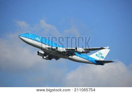 Amsterdam the Netherlands - September 23rd 2017: PH-BFI KLM Royal Dutch Airlines Boeing 747 takeoff from Kaagbaan runway Amsterdam Airport Schiphol