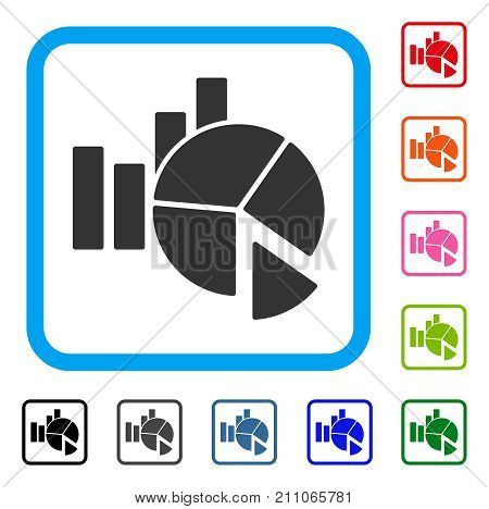 Statistics icon. Flat gray iconic symbol in a light blue rounded rectangular frame. Black, gray, green, blue, red, orange color variants of Statistics vector. Designed for web and app interfaces.