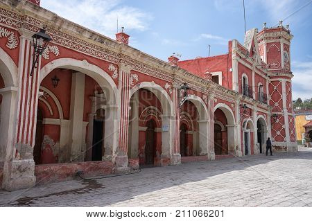 February 26 2016 Bernal Queretaro Mexico: colourful colonial building in the center of the small tourist town