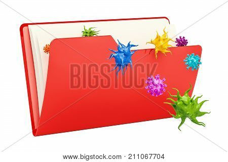 Computer folder icon with virus 3D rendering isolated on white background
