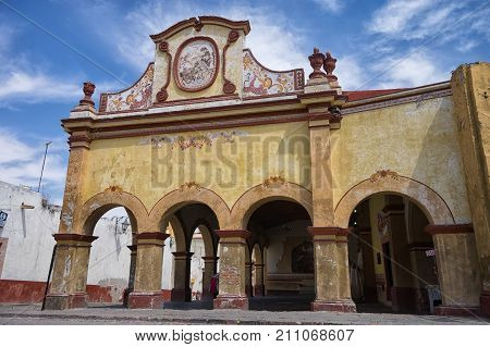 February 26 2016 Bernal Queretaro Mexico: historic Spanish colonial building in the historic town center