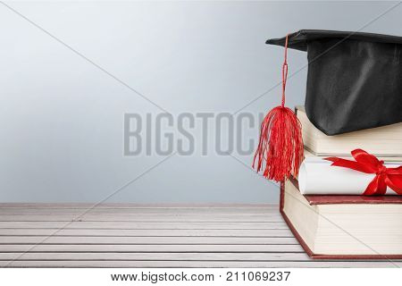 Stack hat graduation grad white background celebration