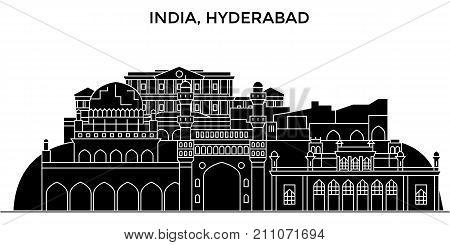India, Hyderabad architecture skyline with landmarks, urban cityscape, buildings, houses, , vector city landscape, editable strokes