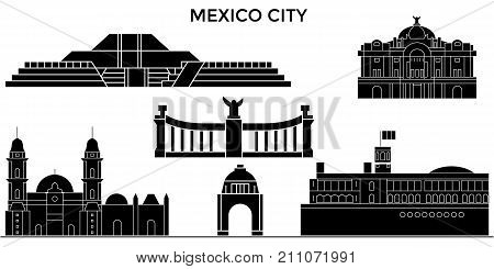 Mexico City architecture skyline with landmarks, urban cityscape, buildings, houses, , vector city landscape, editable strokes