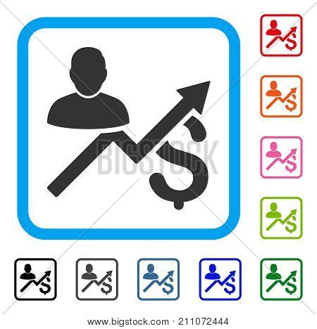 Client Sales Chart icon. Flat grey pictogram symbol in a light blue rounded squared frame. Black, gray, green, blue, red, orange color variants of Client Sales Chart vector.