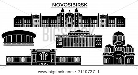 Russia, Novosibirsk architecture skyline with landmarks, urban cityscape, buildings, houses, , vector city landscape, editable strokes
