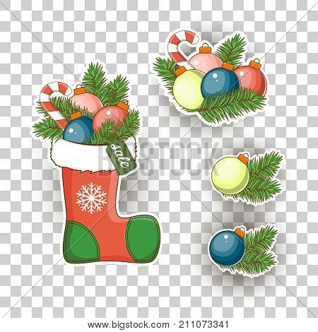 Christmas sticker icons. Stock vector. Merry Christmas and happy new year.