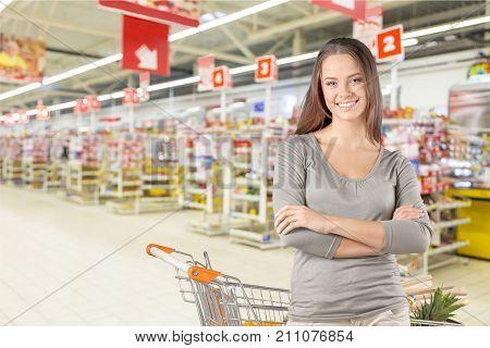 Cart shop woman consumerism discount package retail