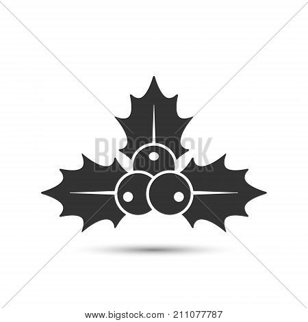 Christmas holly berries icon vector. Simple mistletoe decorative black illustration.