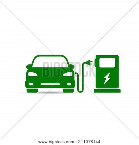 Electric car in refill icon vector. Electric refueling. Eco transportation.