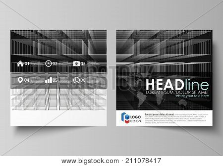 Business templates for square design brochure, magazine, flyer, booklet or annual report. Leaflet cover, abstract flat layout, easy editable vector. Abstract infinity background, 3d structure with rectangles forming illusion of depth and perspective.