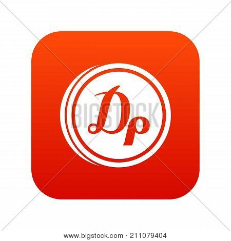 Coin drachma icon digital red for any design isolated on white vector illustration