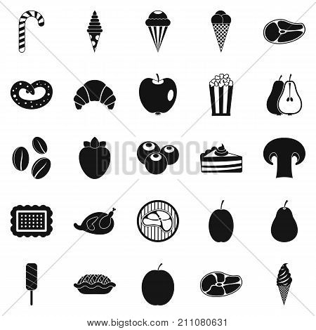 Tasty treats icons set. Simple set of 25 tasty treats vector icons for web isolated on white background