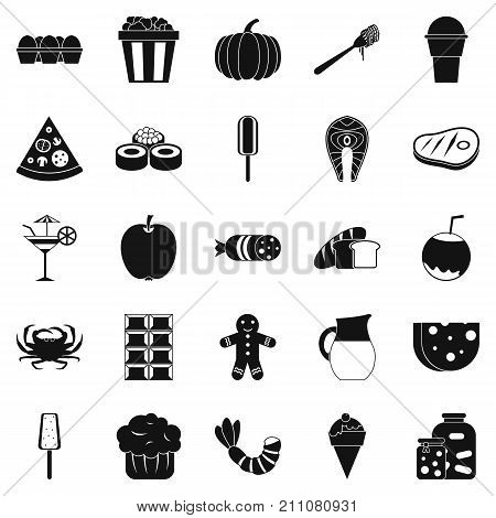 Delicious food icons set. Simple set of 25 delicious food vector icons for web isolated on white background
