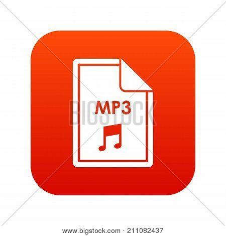 File MP3 icon digital red for any design isolated on white vector illustration