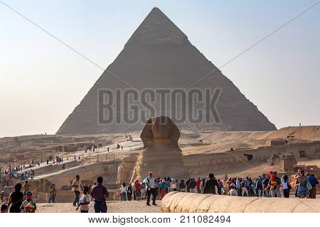 GIZA, EGYPT - FEBRUARY, 2010: Close view of the Great Sphinx of Giza in front of pyramid of Khafre