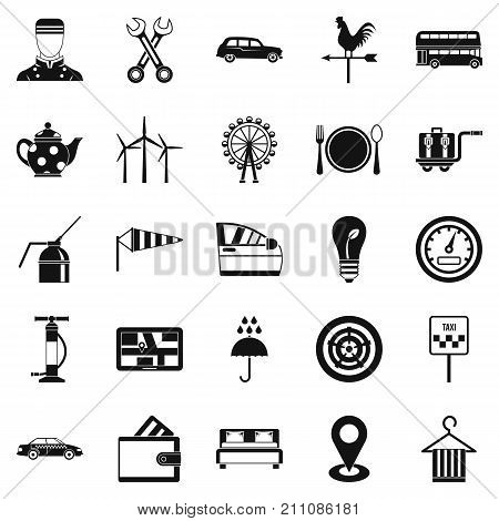 Taxi cab icons set. Simple set of 25 taxi cab vector icons for web isolated on white background