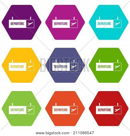 Airport departure sign icon set many color hexahedron isolated on white vector illustration