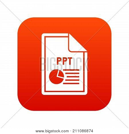 File PPT icon digital red for any design isolated on white vector illustration