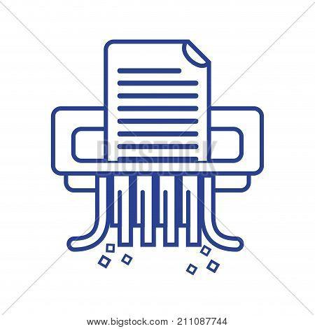 line office paper shredder machine design vector illustration