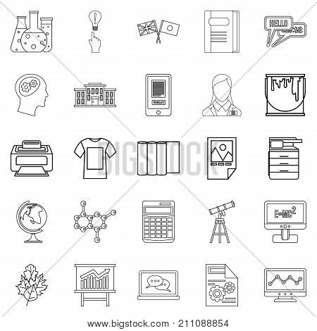 Teaching icons set. Outline set of 25 teaching vector icons for web isolated on white background