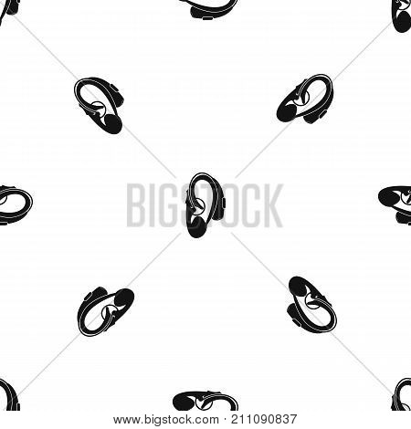 Hearing aid pattern repeat seamless in black color for any design. Vector geometric illustration