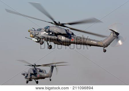 Kubinka, Moscow Region, Russia - April 29, 2014: Mil Mi-28N military helicopters at Kubinka air force base.