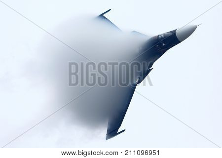 Zhukovsky, Moscow Region, Russia - August 28, 2013: Sukhoi Su-34 of russian air force in Zhukovsky during MAKS-2013