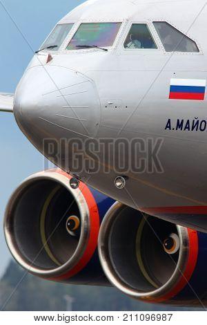 Sheremetyevo, Moscow Region, Russia - July 20, 2012: Aeroflot IL-96-300 RA-96007 taxiing at Sheremetyevo international airport.