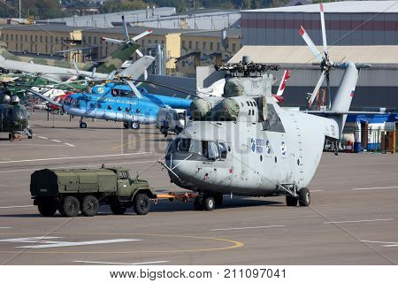Lyubertsy, Moscow Region, Russia - August 11, 2014: Mil Mi-26 helicopter pictured in Lyubertsy.