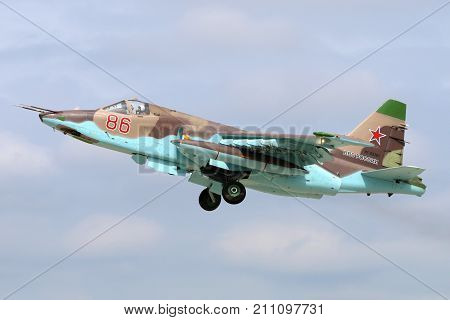Kubinka, Moscow Region, Russia - June 20, 2015: Sukhoi SU-25SM RF-92261 of russian air force takes off at Kubinka air force base.