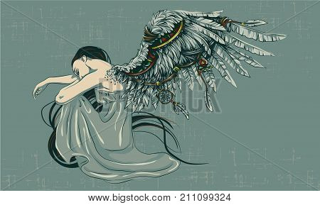the sad angel folded his wings. Angel sits folding his wings
