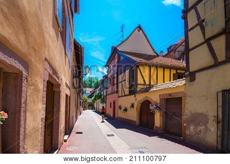 Beautiful view of the historic town of Colmar, also known as Little Venice,  with  traditional colorful houses, in summer, Colmar, Alsace, France on July 18, 2017.