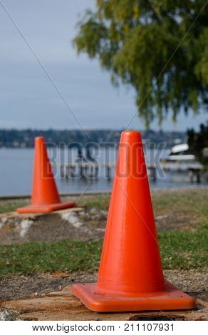 Construction Cones Near Washington Lake Surf Line In Medina Beach Park