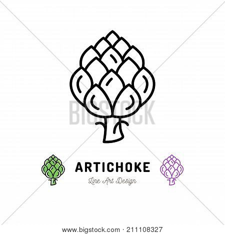 Vector Artichoke icon Vegetables logo. Thin line art design, outline illustration