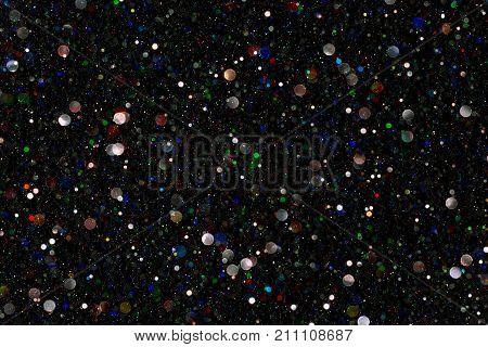 Sparkles Light De Focused Sparkling Color Dust Bokeh over Black Background