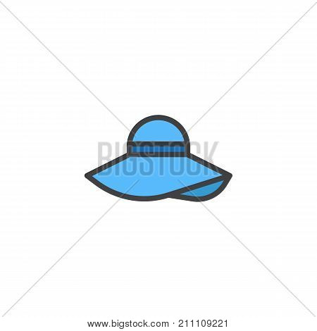 Pamela hat filled outline icon, line vector sign, linear colorful pictogram isolated on white. Symbol, logo illustration. Pixel perfect vector graphics