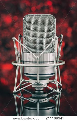 Professional Microphone In Unfocused Background. Mic