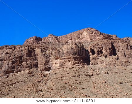 Rocky of TODGHA GORGE canyon landscape in MOROCCO eastern part of High Atlas Mountains range at Dades Rivers near Tinghir town clear blue sky in 2016 warm sunny winter day Africa on February.