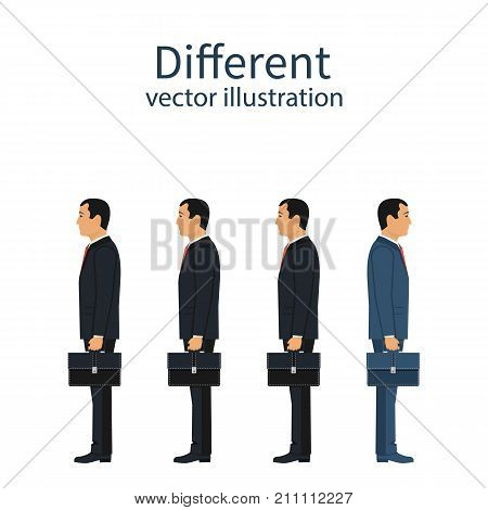 Different people. Standing out from crowd. Unique businessman. Uniqueness and individuality. Vector illustration flat design. Isolated on background. Turn away other way.