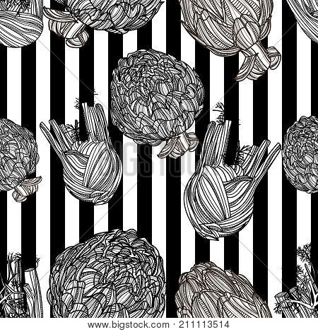 Seamless pattern with fennel, artichoke and black stripes on white background. Vector illustration. Typography design elements for prints, cards, posters, products packaging, branding.