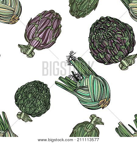 Seamless pattern with artichoke and fennel on white background. Vector illustration. Typography design elements for prints, cards, posters, products packaging, branding.