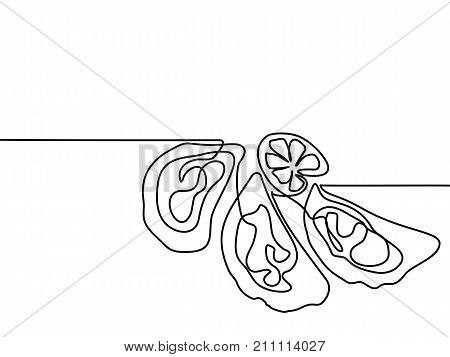 Oysters With Lemone. Continuous Line Drawing.