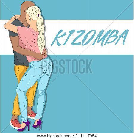 Young couple dancing kizomba together vector draw. Social latin dancing party illustration. Samba, bachata or zouk dance hand drawn sketch