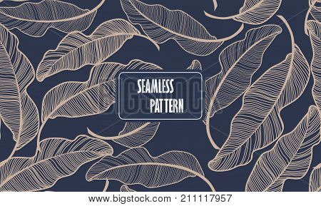 Banana leaves. Seamless pattern background. Composition Seamless exotic pattern with tropical leaves on a Dark blue background. Vector hand drawn illustration.